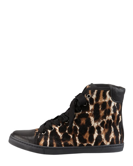 Leopard-Print Calf Hair Hi-Top Sneaker