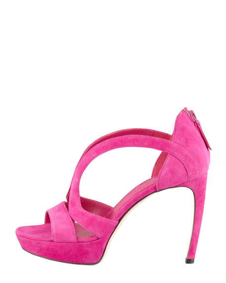 Armadillo Low-Heel Double-Arched Suede Sandal, Pink
