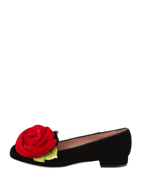 Velvet Rose Smoking Slipper, Black