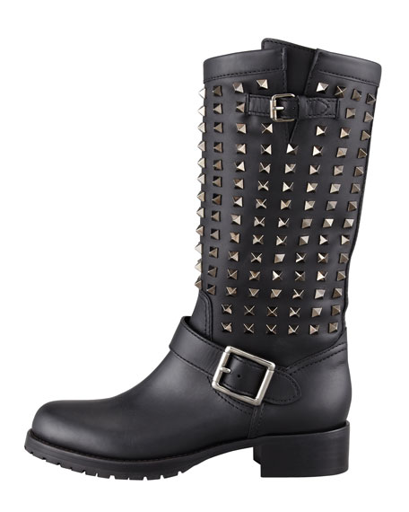 Noir Rockstud Tall Motorcycle Boot