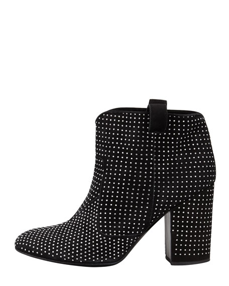 Pete Studded Suede Ankle Boot, Black/Silver
