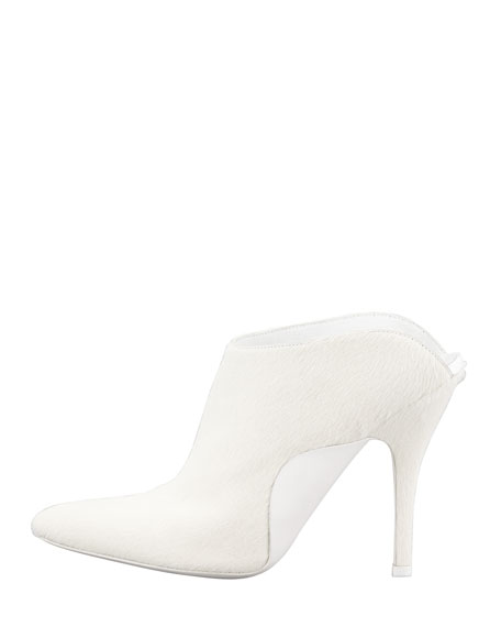 Miranda Calf-Hair Slide Bootie, Porcelain
