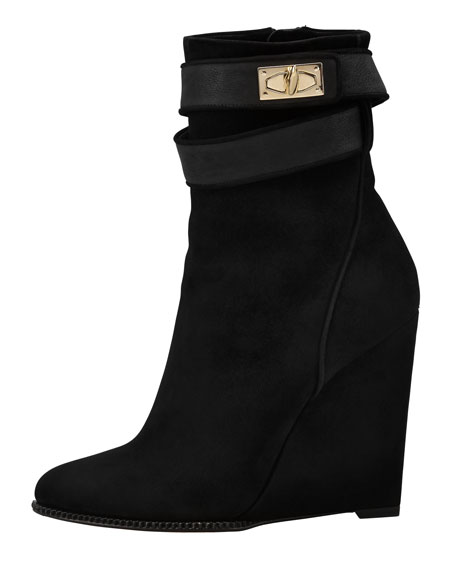 Suede Shark-Lock Wedge Ankle Boot