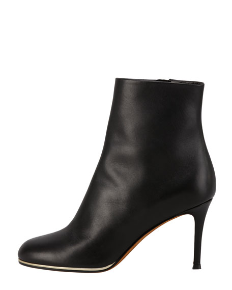 Leather Golden-Midsole Ankle Boot