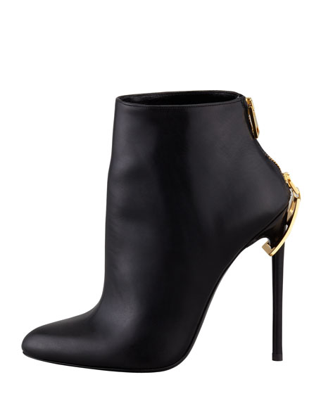 Zipper-Heel Leather Ankle Boot