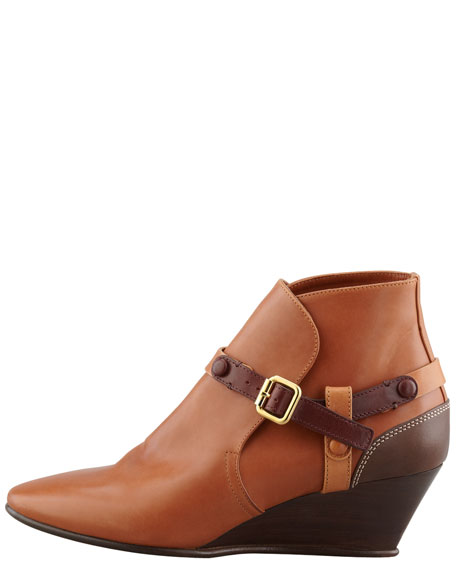 Low Wedge Bootie with Contrast Harness, Tan