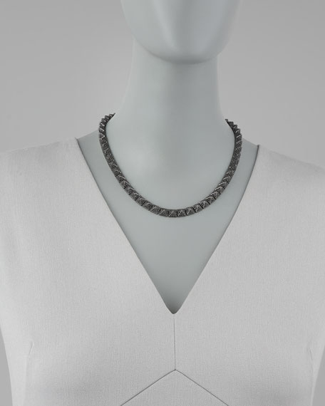 Pave Pyramid Choker Necklace, Gunmetal