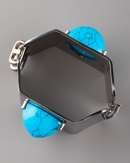Turquoise-Pyramid Hexagonal Cuff