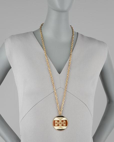 Striped Logo Pendant Necklace, Caramel