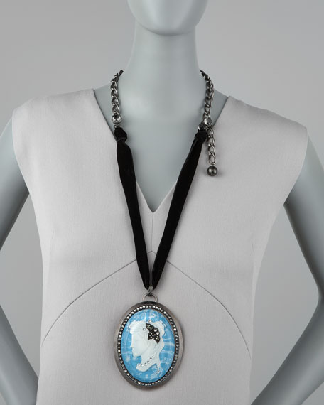 Pave Cameo Necklace, Blue