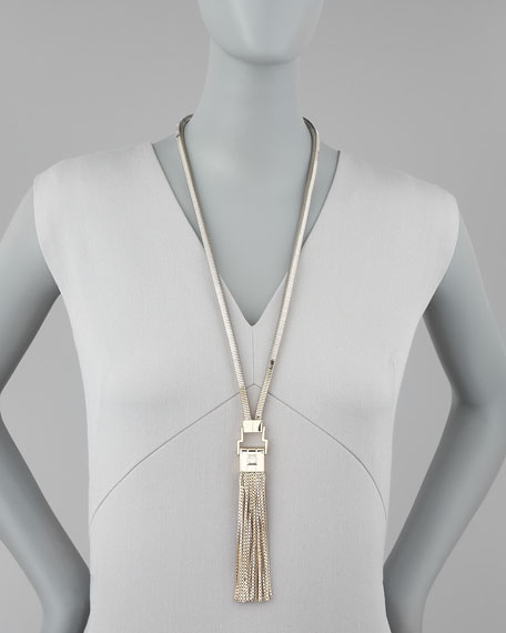 Serpentine Chain Tassel-Pendant Necklace