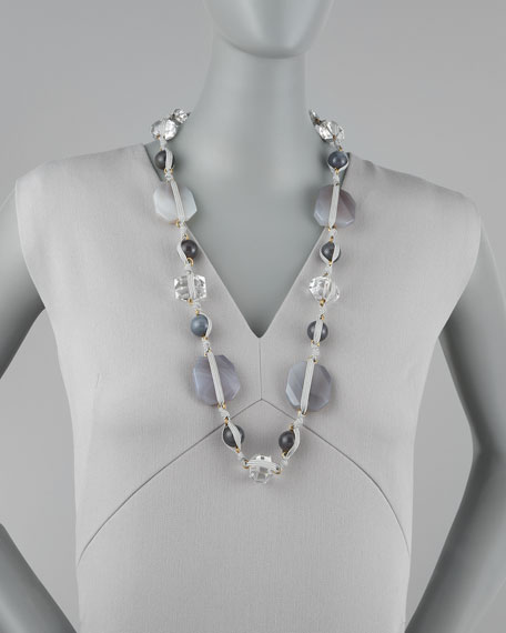 Knotted Long Multi-Stone Necklace, Gray