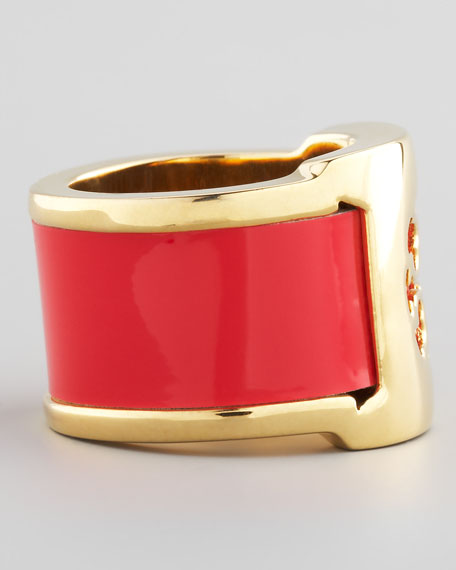 Patent Leather Band Ring, Lobster
