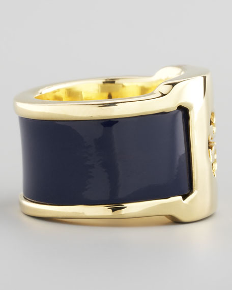 Patent Leather Band Ring, Blue