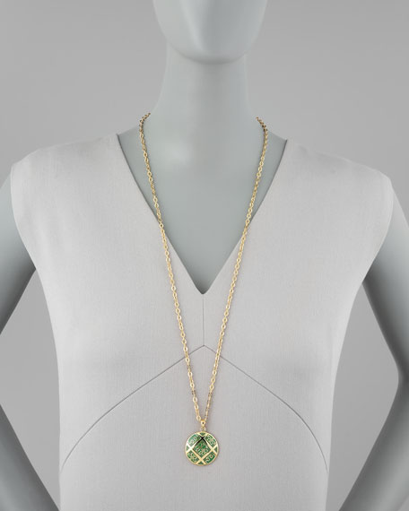 Enamel T-Pattern Pendant Necklace, Green