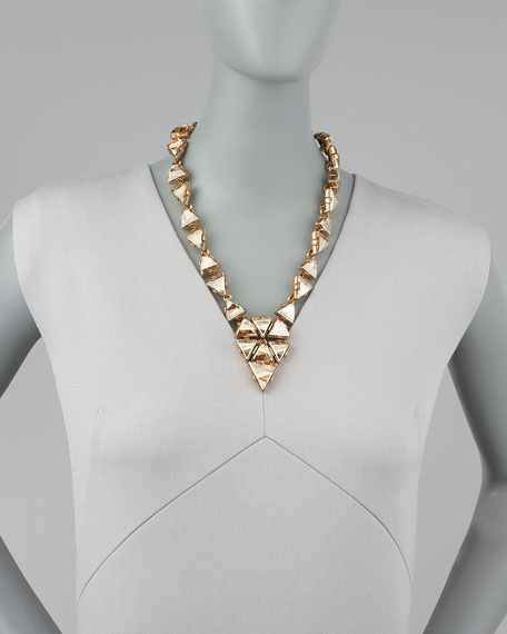 Triangle Cluster Necklace, Golden