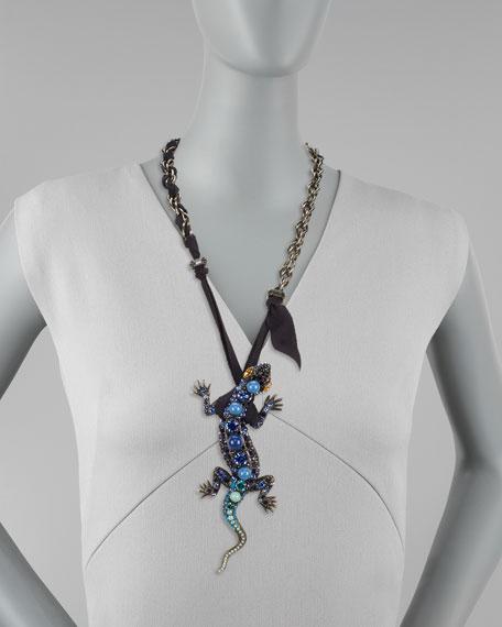 Salamander Pendant Necklace, Blue