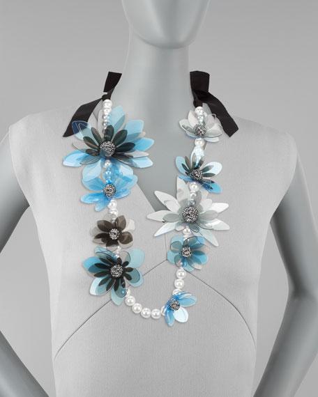 "Flower Ribbon Necklace, 23""L"