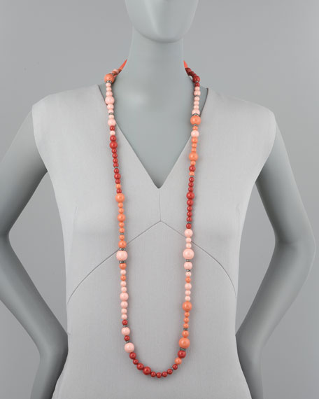 Beaded Necklace, Coral