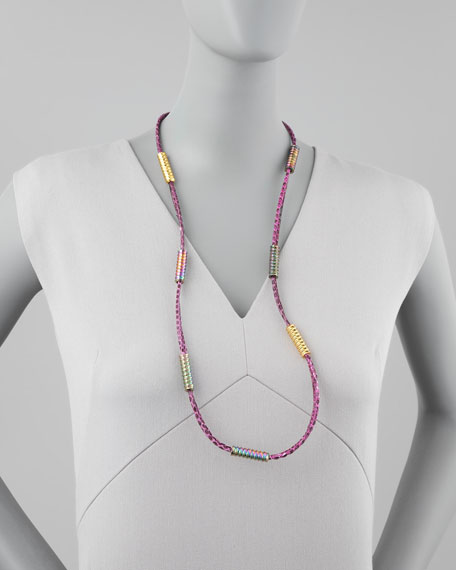 Scaled Long Necklace, Pink