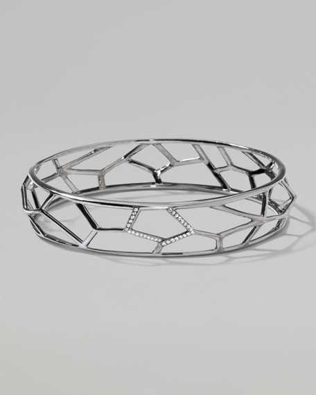 Wicked Pave Diamond Faceted Bangle