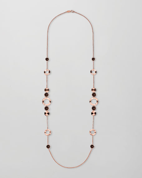 "Rose Smoky Quartz Station Necklace, 37""L"