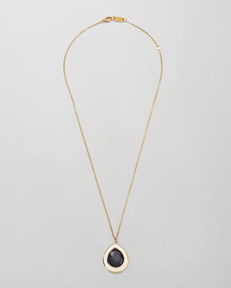 Ondine Teardrop Pendant Necklace, Hematite