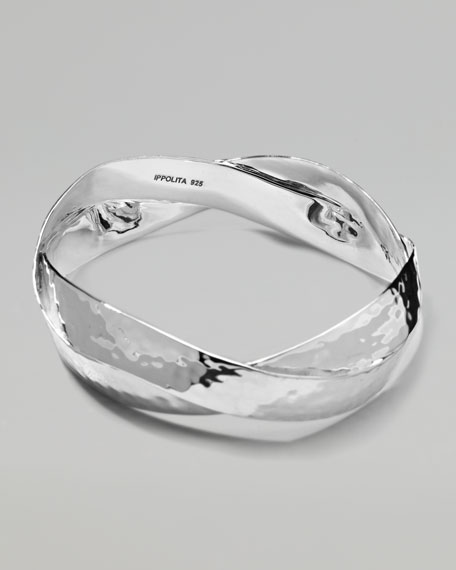 Roma Twisted Silver Bangle
