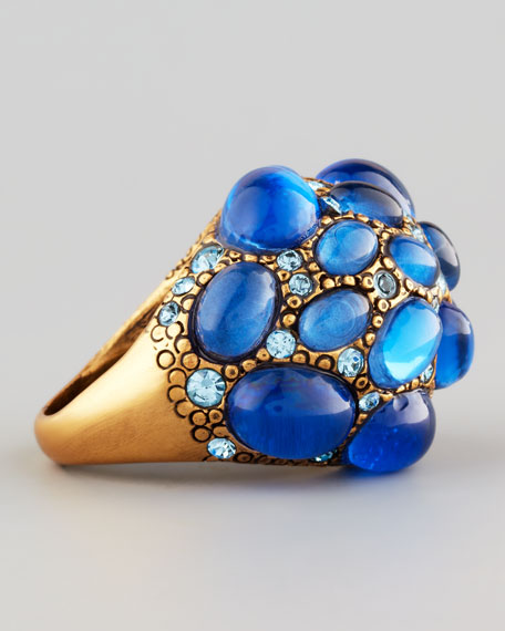 Pave Cabochon & Crystal Ring, Blue