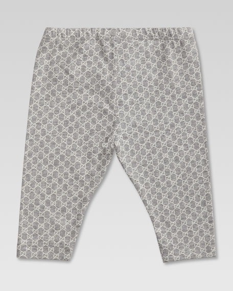 Mini GG-Print Leggings, Light Gray Melange/White