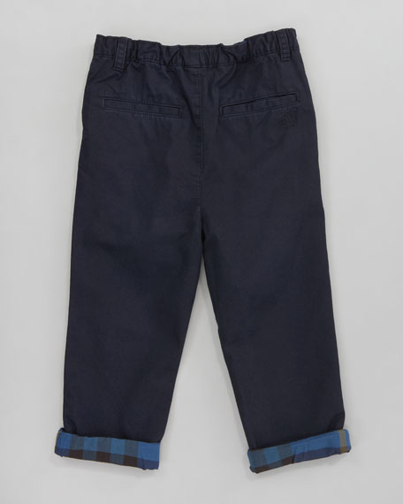 Elasticized Check-Cuff Trousers