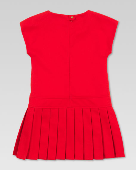 Pleated Drop-Waist Dress, Berry Red