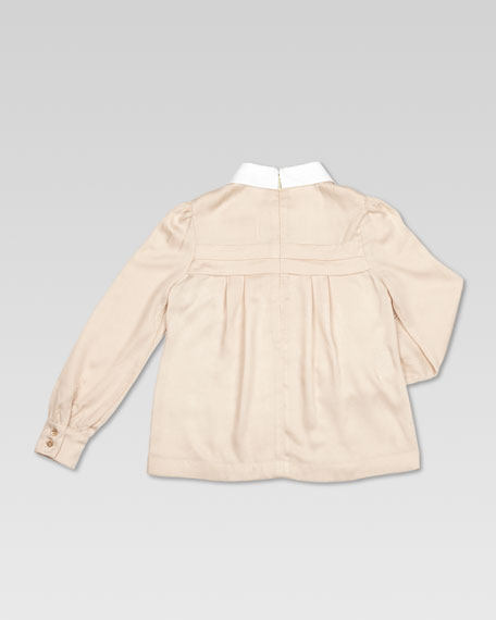 Pleated Twill Blouse