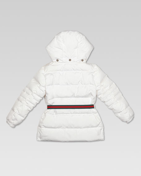 Waterproof Quilted Belted Jacket, Optical White