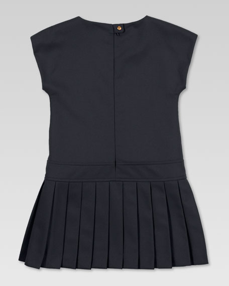 Pleated Drop-Waist Dress, Black