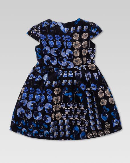 Oshibana-Print Velvet Dress