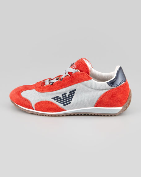 Color Suede Leather Trim Sneaker, Red-Orange