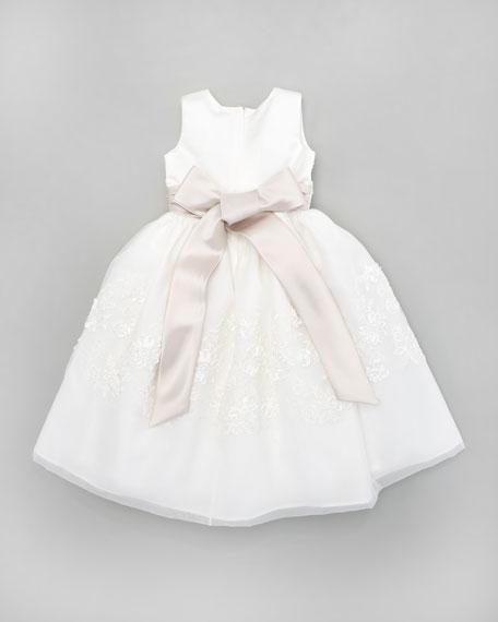 Floral-Applique Tea-Length Dress