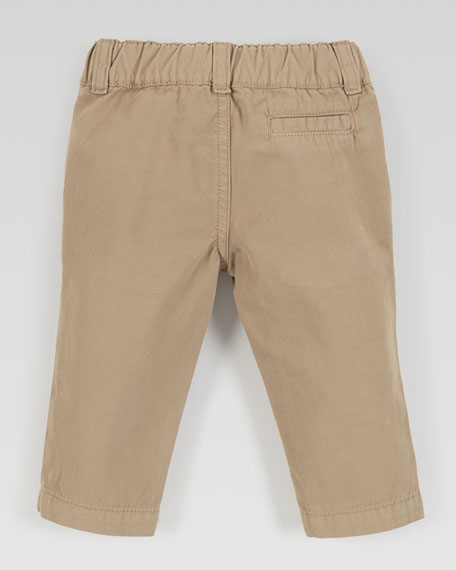 Flat-Front Cotton Slacks, Khaki