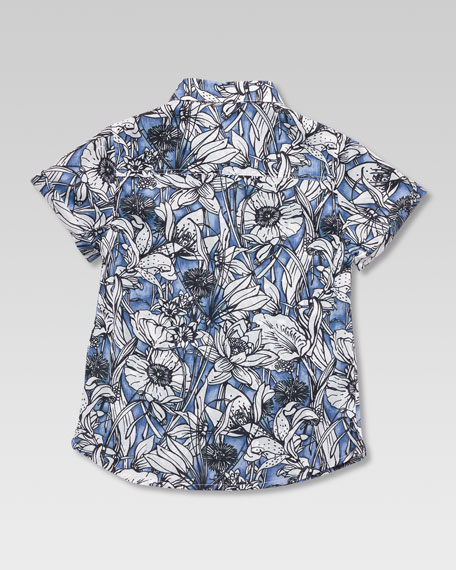 Floral Button-Down Shirt, Sizes 4-10
