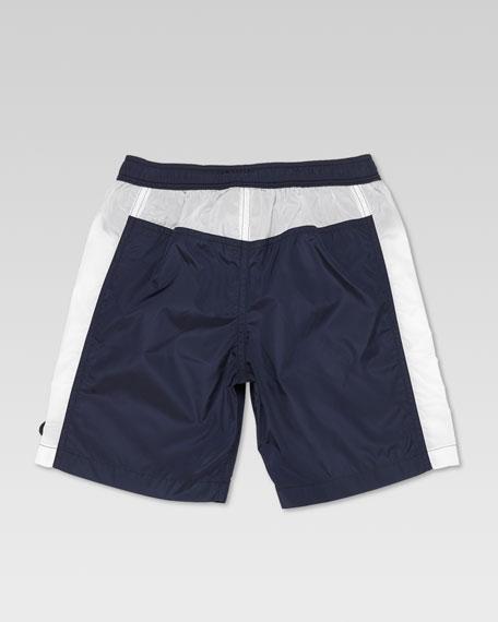 Side-Stripe Swim Trunks, Navy/White