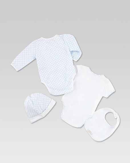 Mini GG Interlock Jersey Four-Piece Gift Set, Optical White/Cielo
