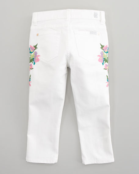 Floral-Embroidered Cropped Skinny Jeans, Sizes 2T-3T