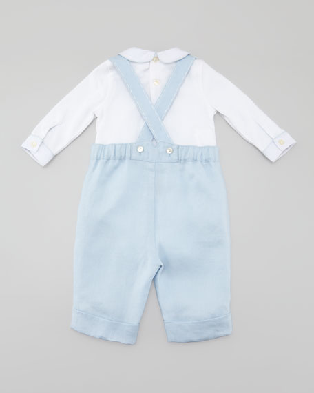 Woven Twill Overalls Set
