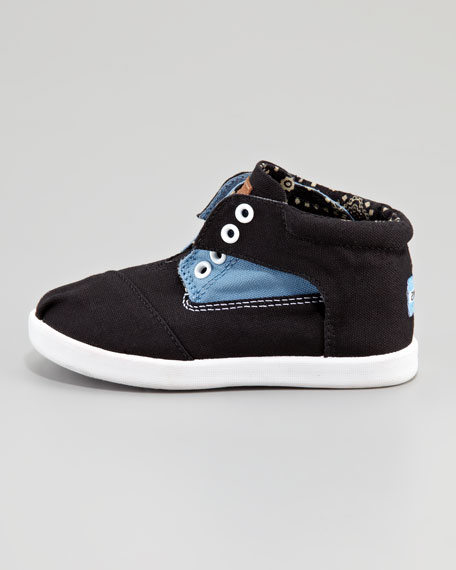 Colorblock Botas Shoe, Blue/Black, Tiny