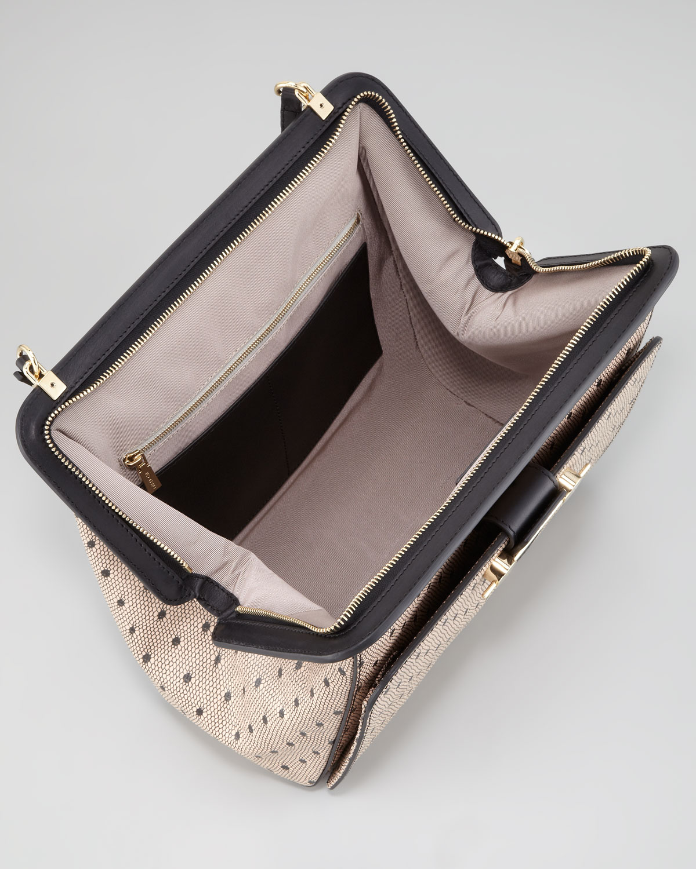 Jason Wu Daphne Lace-Print Leather Satchel Bag, Nude/Black