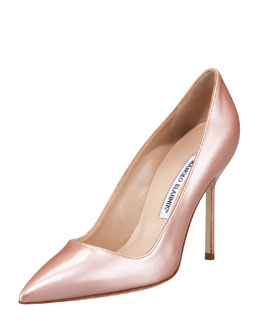 Manolo Blahnik Point-Toe Metallic Patent Pump