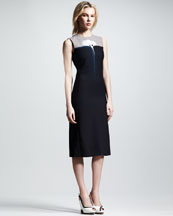 Victoria by Victoria Beckham Moon-Print Colorblock Dress