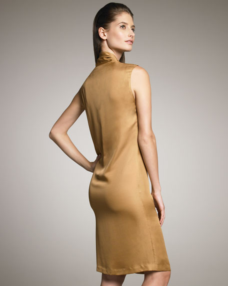 Scarf-Detailed Satin Dress
