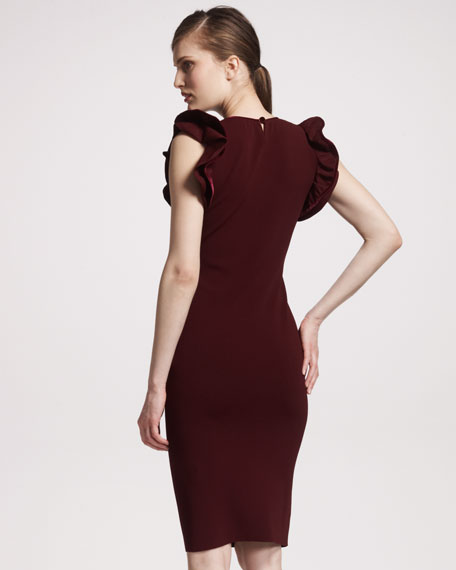 Velvet Ruffled-Shoulder Dress